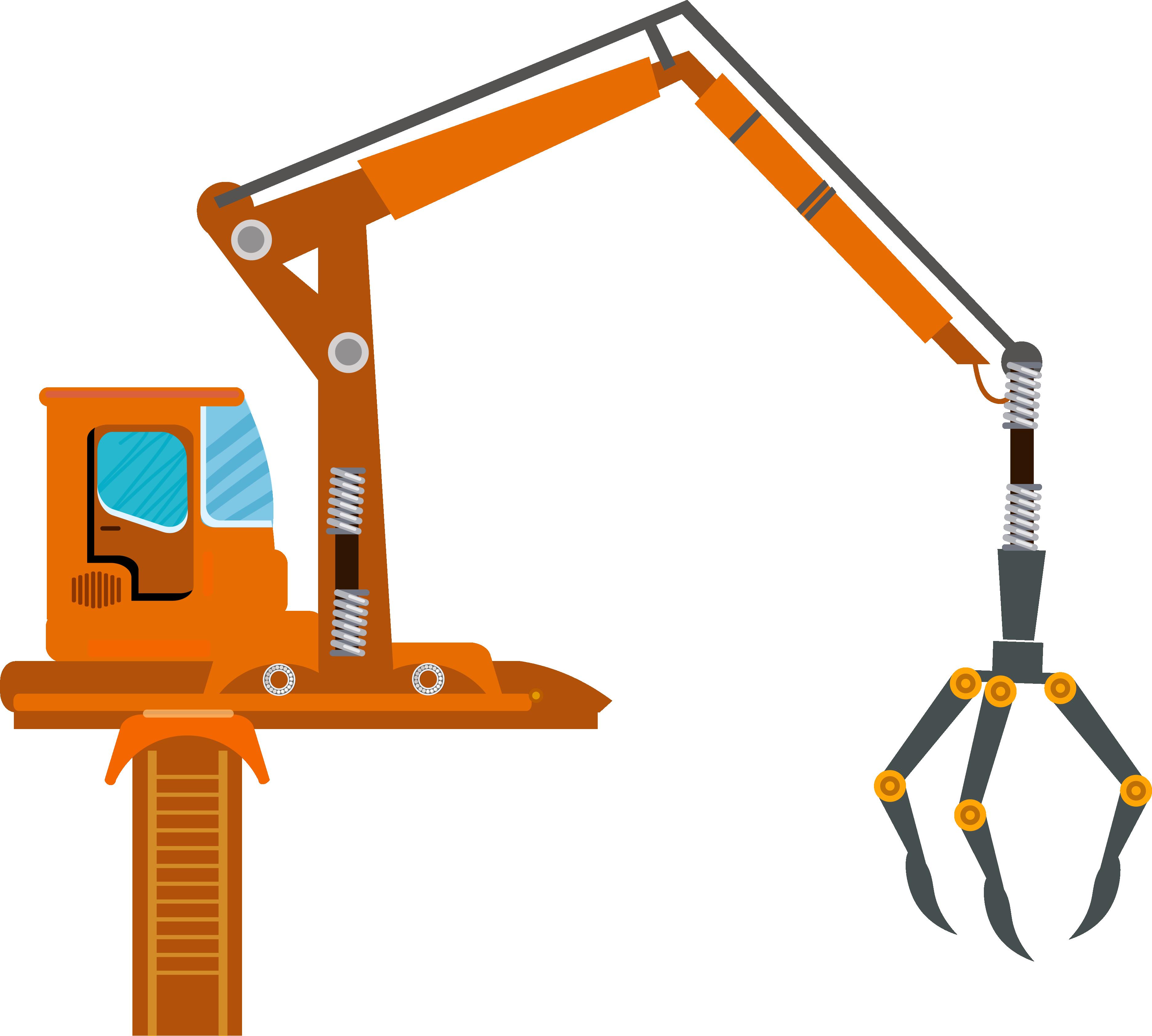 Animated orange crane