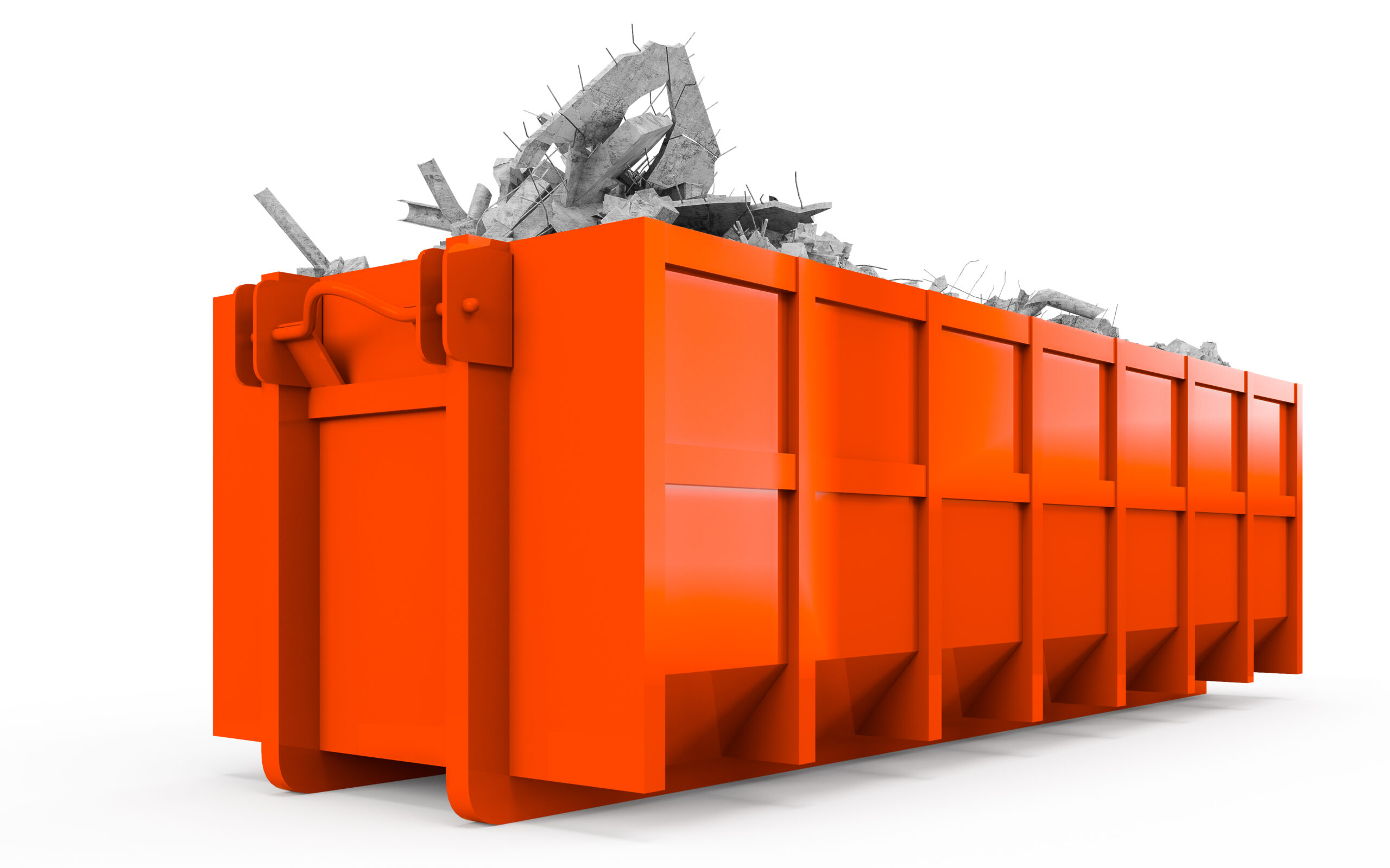 3D rendering of Orange Red rubble container perspective front view isolated on white background
