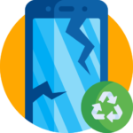 Animated broken blue phone next to green recycling logo