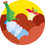 Animated recycling logo with broken glass bottle, apple core and plastic water bottle